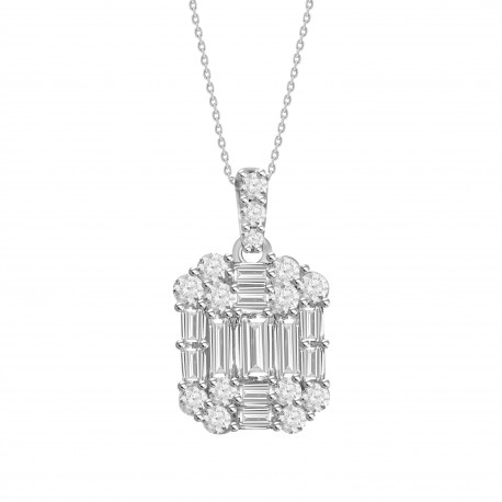 18K Rectangle Design with Fancy Shape Hanging Necklace