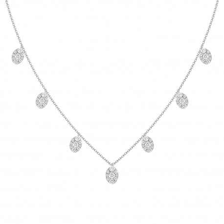 18K Marquise Shape Dangling Diamond Necklace