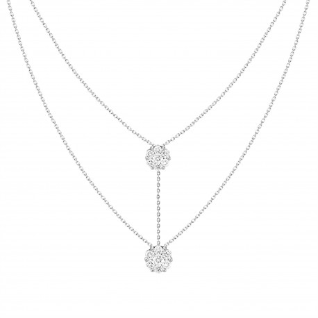 18K Diamond Connected Flower Pressure Setting 2 layer Necklace
