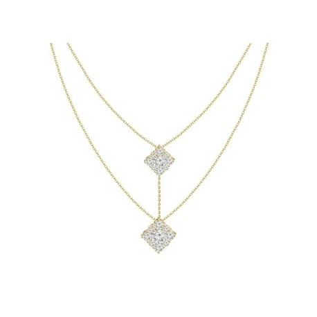 18K Diamond Connected Square Pressure Setting 2 layer Necklace