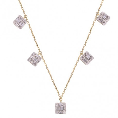 18K Square Design with Baguette Shape Dangling Diamond Necklace