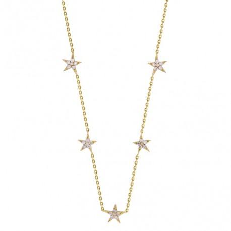 18K Star Shape Hanging Diamond Necklace