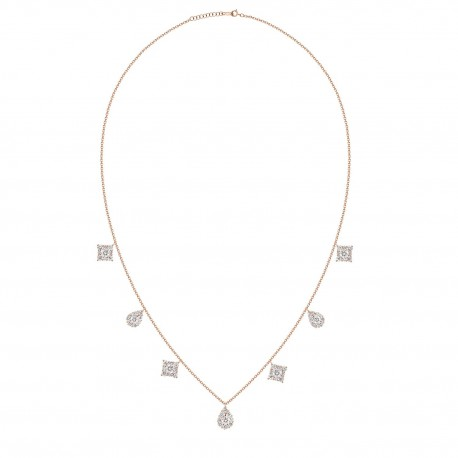 18K Dangling Design with Square & Pear Shape Diamond Necklace