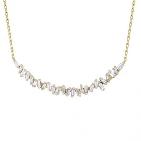 18K Crescent Design with Baguette Shape Diamond Necklace