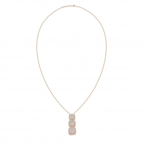 18K 3 Square Design with Baguette Shape Diamond Necklace
