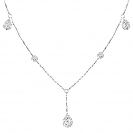 18K Diamond Pear shaped Y-Knot Necklace