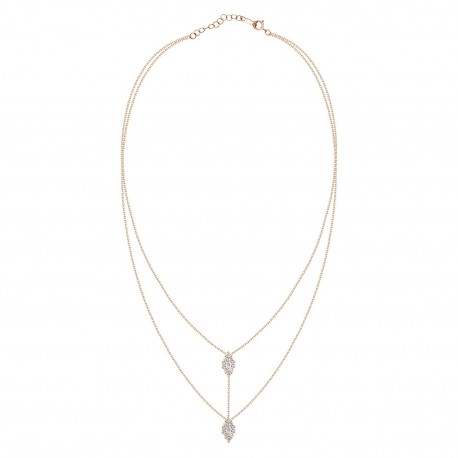 18K Diamond Connected Oval Pressure Setting 2 layer Necklace