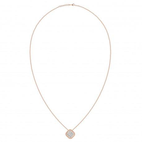 18K Square Shape Diamond Necklace
