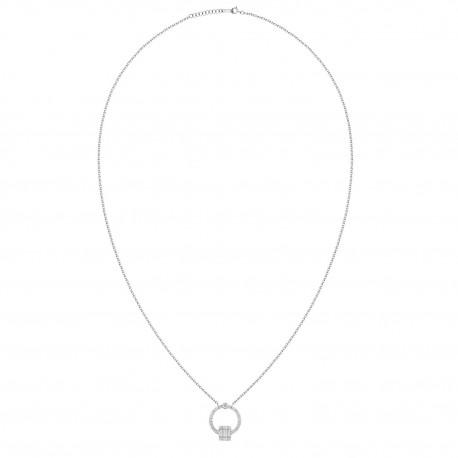 18K Open Circle with Baguette Cut Square Shape Diamond Necklace