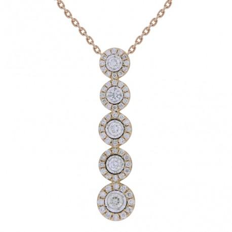18K 5 Round Diamond Necklace