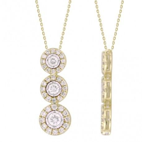 18K 3 Round Diamond Necklace