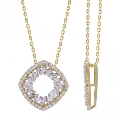 18K Open Square with Baguette Shape Diamond Necklace