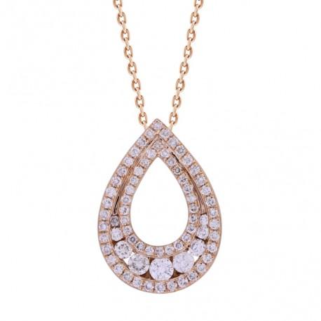 18K Hollow Water Drop Shape Diamond Necklace