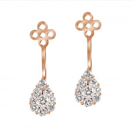Diamond Drop shaped Jacket Earring