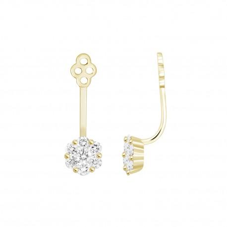Diamond Flower shaped Jacket Earring