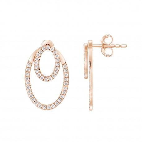 Diamond Double Open Oval Shape Earring