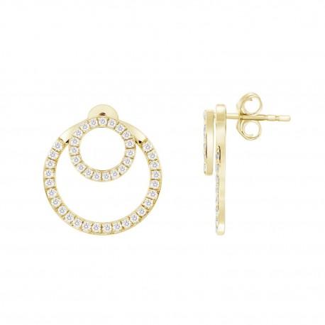 Diamond Double Open Circle Shape Earring