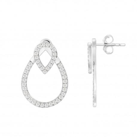 Diamond Double Open Water Drop Shape Earring