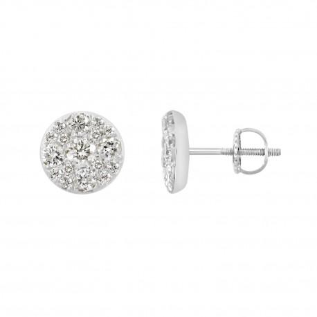 18K Invisible Round Shape Diamond Earring