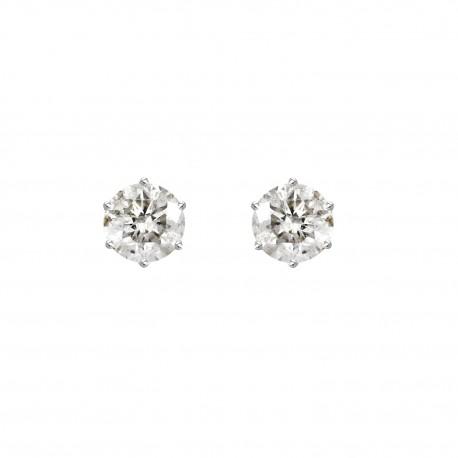 18K Round Shape Solitaire Diamond Earring