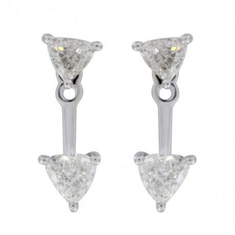 18K 2 Triangle Shape Diamond Earring