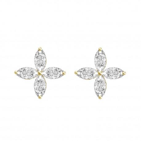 18K Flower Design with Marquise Shape Diamond Earring