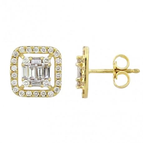 18K Square Shape Diamond Earring