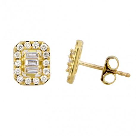 18K Rectangle Design with Fancy Shape Halo Diamond Earring