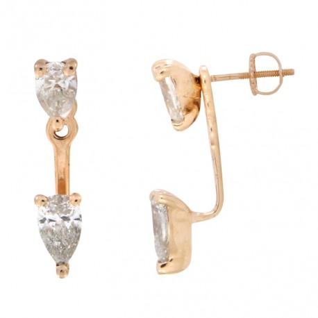18K Two-way Pear Shape Diamond Earring