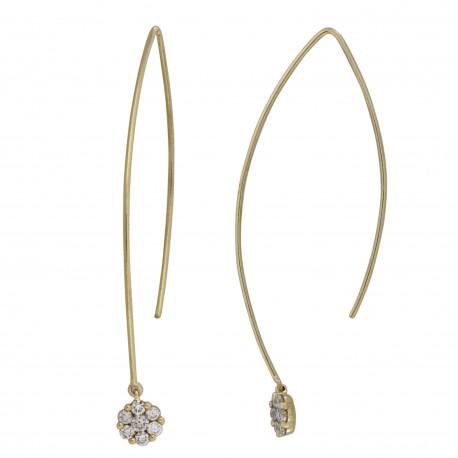 18K Laser Hole Round Solitaire Design Diamond Earring Hook