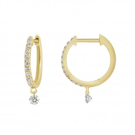 18K Laser Hole Round Shape Diamond Earring