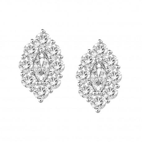 18K Marquise Design with Fancy Shape Diamond Earring