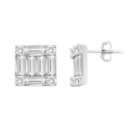 18K Square Design with Baguette Shape Diamond Earring
