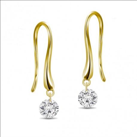 18K Laser Hole Round Diamond Earring Hook