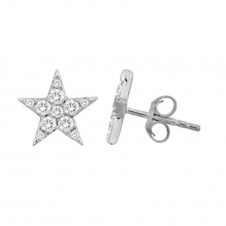 18K Star Shape Diamond Earring