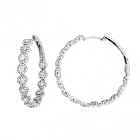 18K Round Diamond Earring