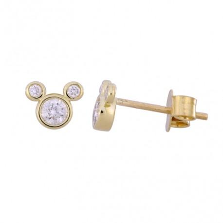 18K Simple Design Diamond Earring