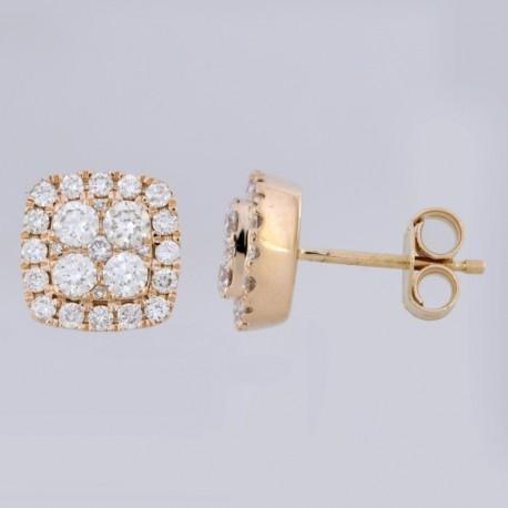 18K Square Shape Halo Diamond Earring