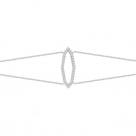 18K Diamond Connected Polygon Shape 2 Layer Bracelet
