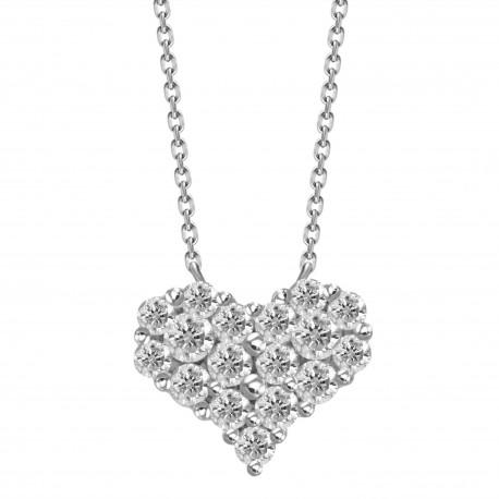 Diamond Heart Pressure Setting Necklace(Small)