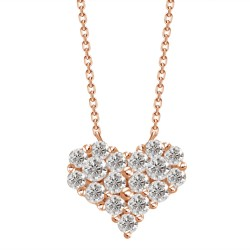 Diamond Heart Pressure Setting Necklace(Small)