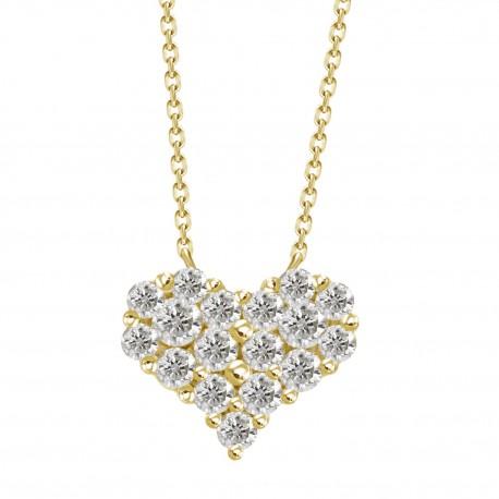 Diamond Heart Pressure Setting Necklace(Medium)