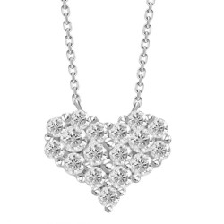 Diamond Heart Pressure Setting Necklace(Large)