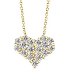 Diamond Heart Pressure Setting Necklace(Large)