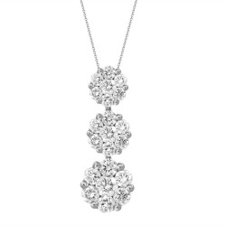 Diamond 3 Round Pressure Setting Necklace(Medium)