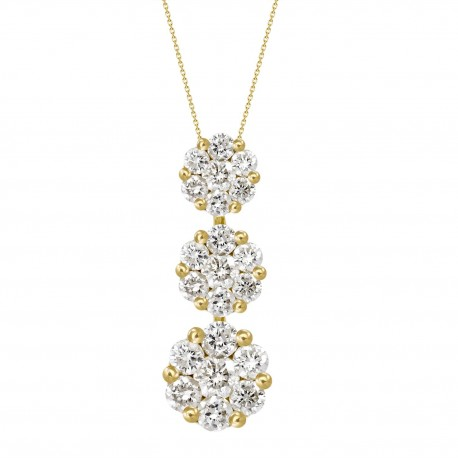 Diamond 3 Round Pressure Setting Necklace(Medium)