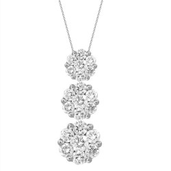 Diamond 3 Round Pressure Setting Necklace(Large)