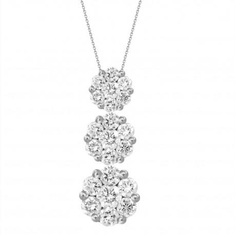 Diamond 3 Round Pressure Setting Necklace(Large)