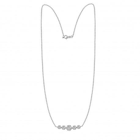 Diamond Pressure setting Crecsent Necklace(Medium)