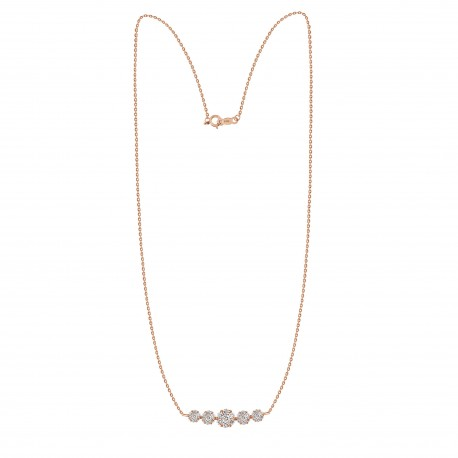 Diamond Pressure setting Crecsent Necklace(Medium)